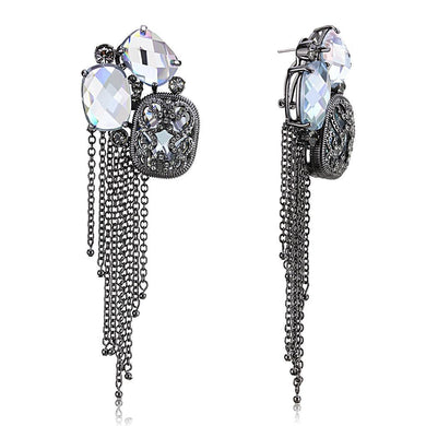 LO4191 TIN Cobalt Black Brass Earrings with AAA Grade CZ in Clear