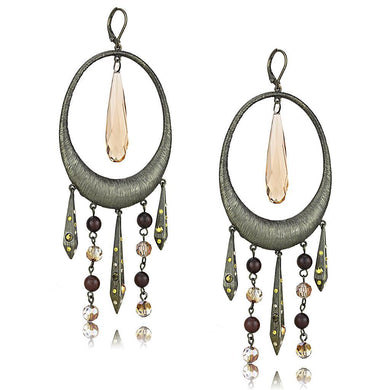 LO4192 - Antique Copper Brass Earrings with Synthetic Synthetic Glass in Champagne