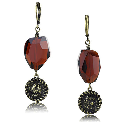 LO4193 - Antique Copper Brass Earrings with Synthetic Synthetic Glass in Garnet