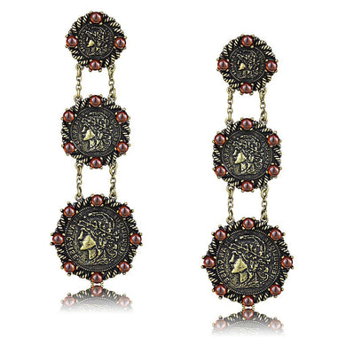 LO4196 - Antique Copper Brass Earrings with AAA Grade CZ  in Garnet