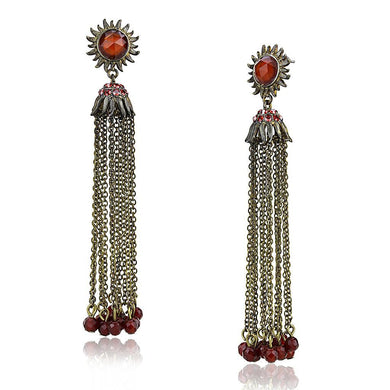 LO4197 Antique Copper Brass Earrings with Synthetic in Garnet