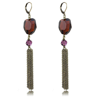LO4202 - Antique Copper Brass Earrings with Synthetic Synthetic Glass in Garnet