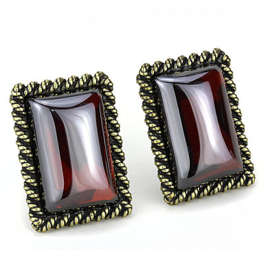 LO4203 - Antique Copper Brass Earrings with AAA Grade CZ  in Garnet
