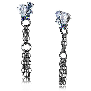 LO4204 TIN Cobalt Black Brass Earrings with AAA Grade CZ in Clear
