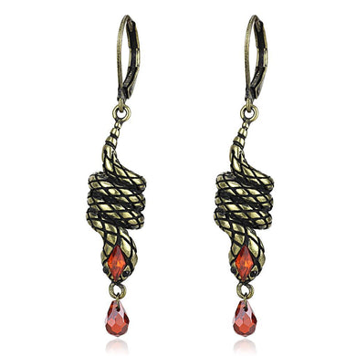 LO4205 - Antique Copper Brass Earrings with AAA Grade CZ  in Garnet