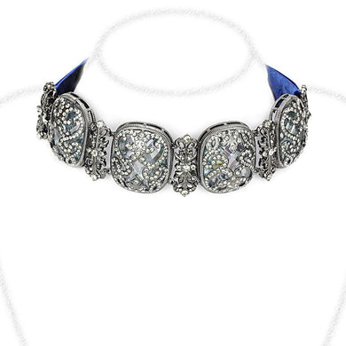 LO4206 TIN Cobalt Black Brass Necklace with AAA Grade CZ in Clear