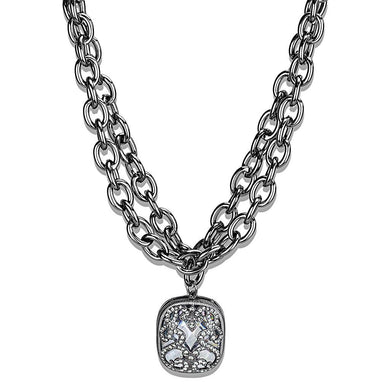 LO4207 TIN Cobalt Black Brass Necklace with AAA Grade CZ in Clear