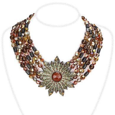 LO4210 - Antique Copper Brass Necklace with Synthetic Onyx in Garnet
