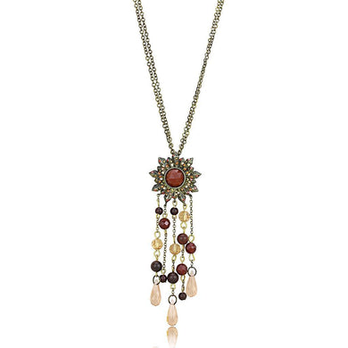LO4215 - Antique Copper Brass Chain Pendant with Synthetic Onyx in Garnet