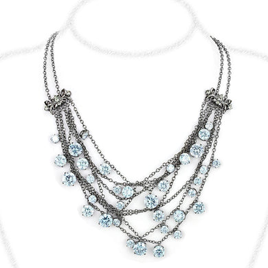 LO4217 - TIN Cobalt Black Brass Necklace with AAA Grade CZ  in Clear