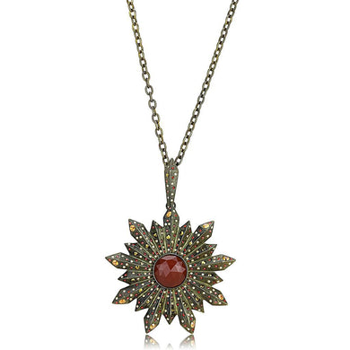 LO4219 Antique Copper Brass Necklace with Synthetic in Red Series