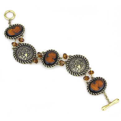 LO4221 - Antique Copper Brass Bracelet with Synthetic Synthetic Stone in Smoked Quartz