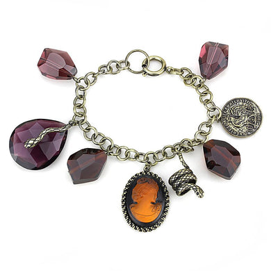 LO4223 - Antique Copper Brass Bracelet with Synthetic Synthetic Glass in Amethyst