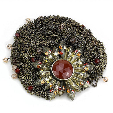 LO4224 Antique Copper Brass Bracelet with Synthetic in Garnet