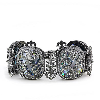 LO4225 - TIN Cobalt Black Brass Bracelet with AAA Grade CZ  in Clear