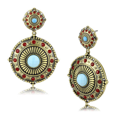 LO4685 - Antique Copper Brass Earrings with Synthetic Turquoise in Sea Blue