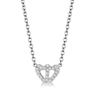LO4694 Rhodium Brass Necklace with Top Grade Crystal in Clear