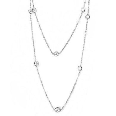 LO4704 Rhodium Brass Necklace with AAA Grade CZ in Clear