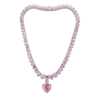 LO4705 Rhodium Brass Necklace with AAA Grade CZ in Rose