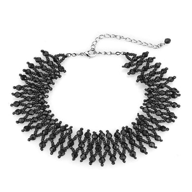 LO4715 Rhodium Brass Necklace with Synthetic in Jet