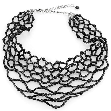 LO4716 Rhodium Brass Necklace with Synthetic in Jet