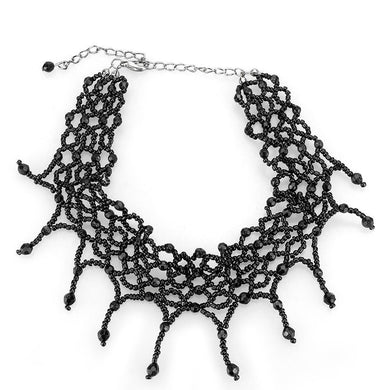LO4717 Rhodium Brass Necklace with Synthetic in Jet
