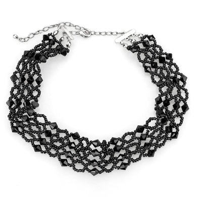 LO4718 Rhodium Brass Necklace with Synthetic in Jet