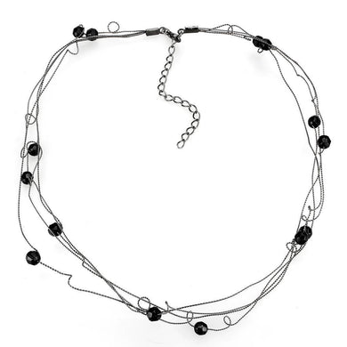 LO4719 Ruthenium White Metal Necklace with Synthetic in Jet