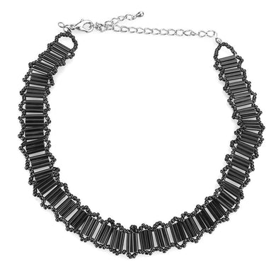 LO4724 Rhodium White Metal Necklace with Synthetic in Jet