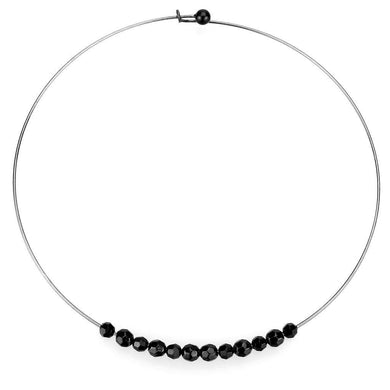 LO4725 Ruthenium White Metal Necklace with Synthetic in Jet