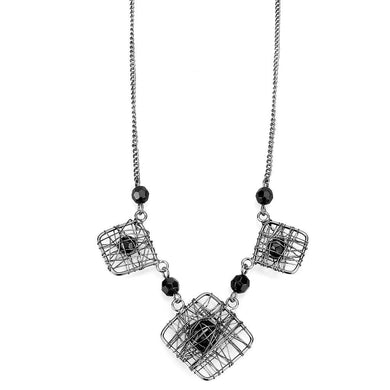 LO4727 Ruthenium White Metal Necklace with Synthetic in Jet