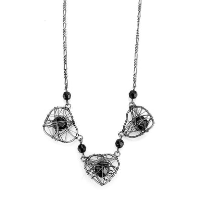 LO4728 Ruthenium White Metal Necklace with Synthetic in Jet