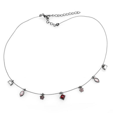 LO4729 Ruthenium White Metal Necklace with Top Grade Crystal in Multi Color