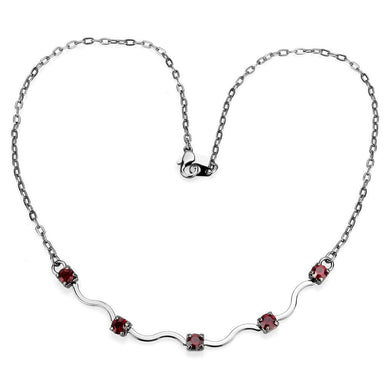 LO4730 Ruthenium White Metal Necklace with AAA Grade CZ in Siam