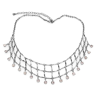 LO4731 Ruthenium White Metal Necklace with Top Grade Crystal in Light Amethyst