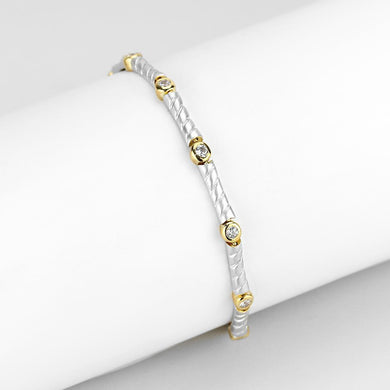 LO4734 Gold+Rhodium Brass Bracelet with AAA Grade CZ in Clear