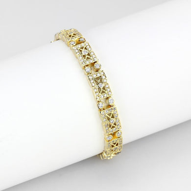 LO4735 Gold Brass Bracelet with AAA Grade CZ in Clear