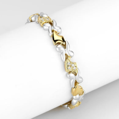LO4736 Gold+Rhodium Brass Bracelet with AAA Grade CZ in Clear