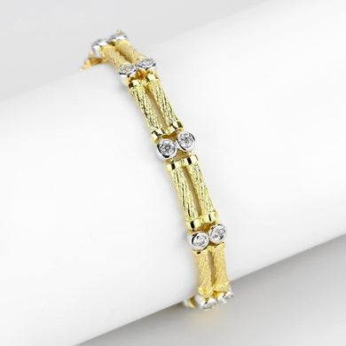 LO4737 Gold+Rhodium Brass Bracelet with AAA Grade CZ in Clear