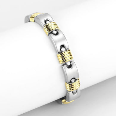 LO4738 Gold+Rhodium White Metal Bracelet with No Stone in No Stone