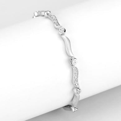 LO4740 Matte Rhodium & Rhodium Brass Bracelet with AAA Grade CZ in Clear
