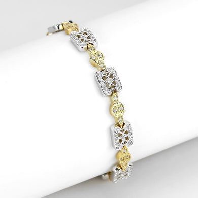 LO4741 Gold+Rhodium Brass Bracelet with AAA Grade CZ in Clear
