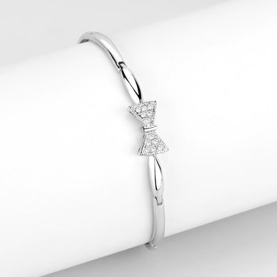 LO4742 Rhodium Brass Bracelet with Top Grade Crystal in Clear