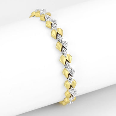 LO4743 Gold+Rhodium Brass Bracelet with AAA Grade CZ in Clear