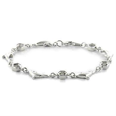 LO731 - Imitation Rhodium Brass Bracelet with No Stone