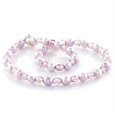 LO767 -  Stone Anklet with Synthetic Pearl in Light Amethyst