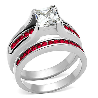 LOA1362 High polished (no plating) Stainless Steel Ring with AAA Grade CZ in K2