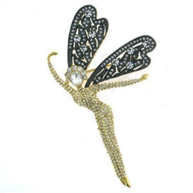LOA280 - Gold Brass Brooches with Top Grade Crystal  in Clear