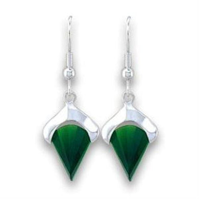 LOA567 - Silver 925 Sterling Silver Earrings with Synthetic Synthetic Glass in Emerald