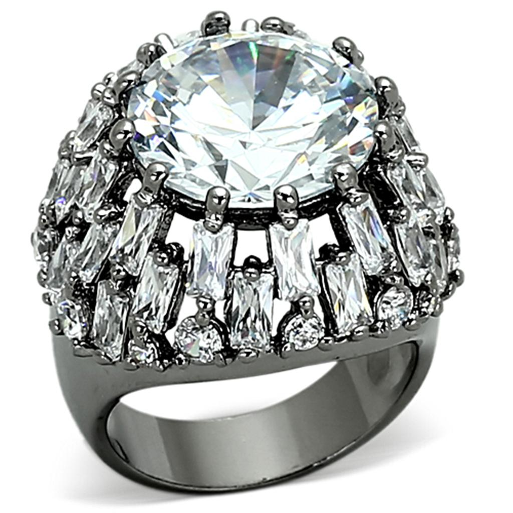 LOA885 Ruthenium Brass Ring with AAA Grade CZ in Clear
